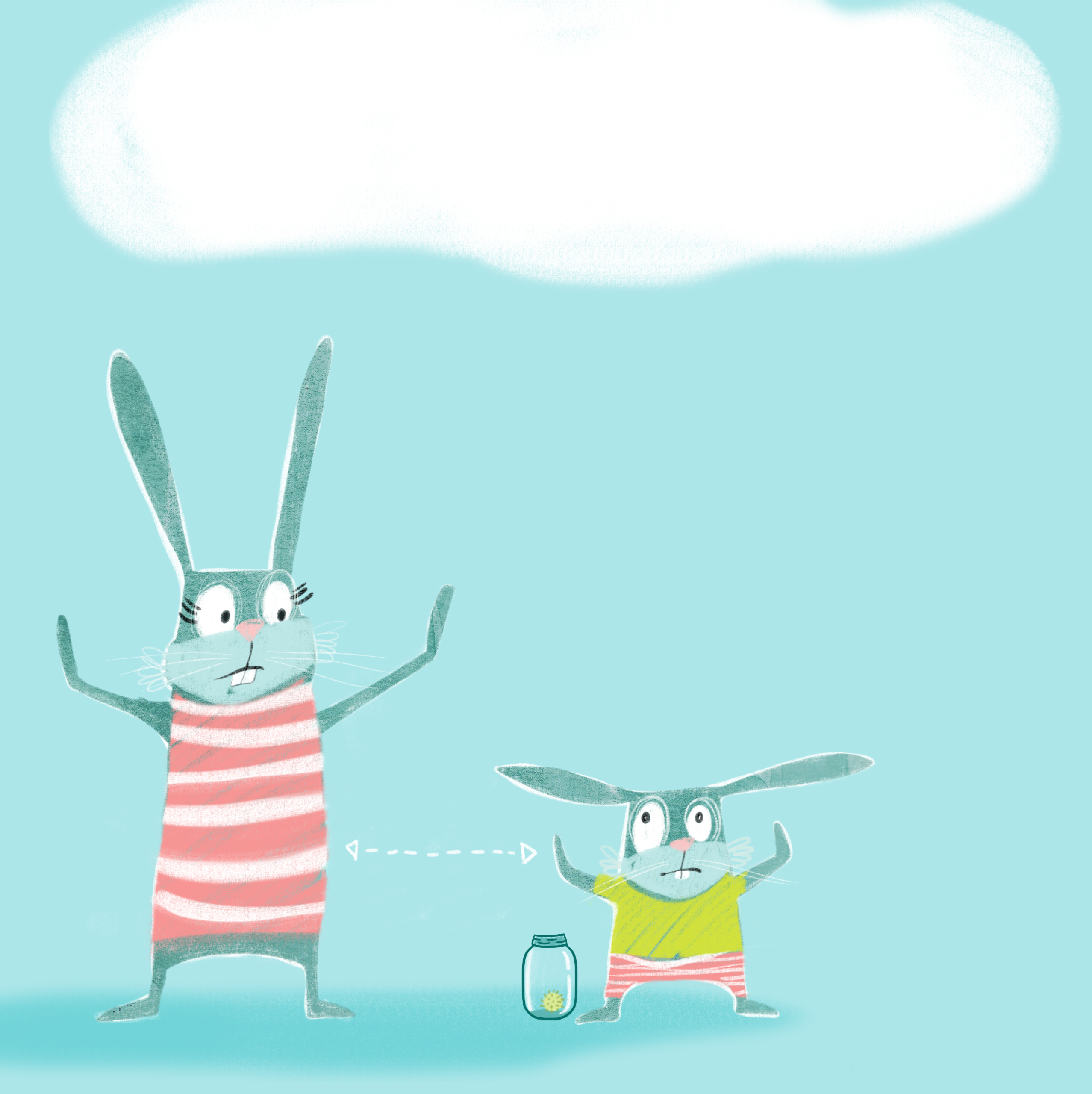 An illustration of two bunnies standing with their arms outstretched from their sides and standing at least 6 feet apart